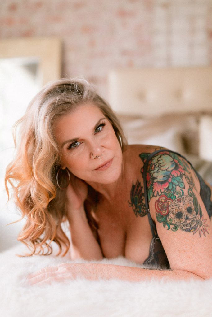 50+ year old woman celebrates herself through a boudoir session by san francisco bay area portrait photographer Heather Elizabeth